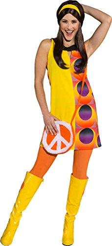 Karneval-Klamotten Disco Kostüm für Damen 70er Disco Kleid 70er Jahre Party Kleid Retro Damen-kostüm Größe 40 (Damen Für Retro-kostüme)