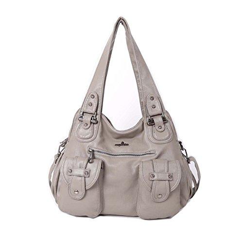 Angelkiss 2 zip più alte tasche borse donna / tasche in lana lavata / borse a tracolla XS160737 Grigio