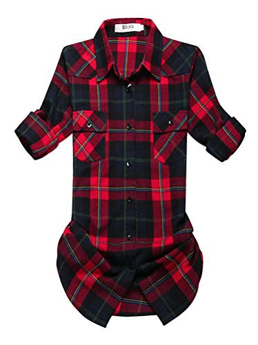 OCHENTA Blusen Damen Mittellangarm Aufkrempelnd Plaid Flanellhemd C029 Blau Rot Etikett 8XL - EU XL/EU 46