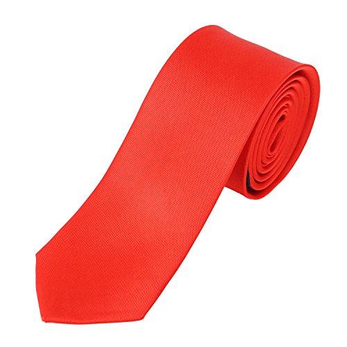 DonDon Herren Krawatte schmal glänzend 5 cm rot