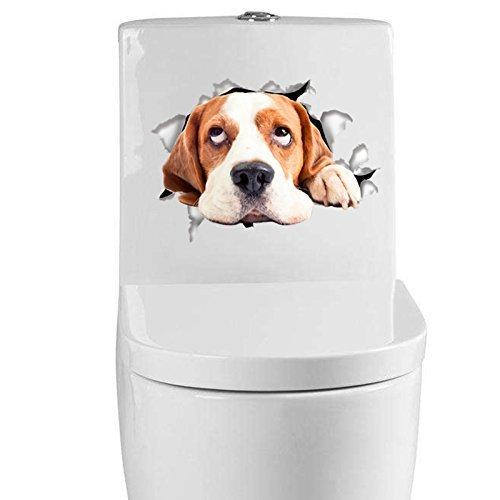 -Homeworld- Großer Hunde-Aufkleber mit 3D Effekt, 21x15cm, Perfekt für WC Toilettendeckel, Den Kühlschrank und Verschiedene Weiße Möbel. Tolles Geschenk für Hundeliebhaber!