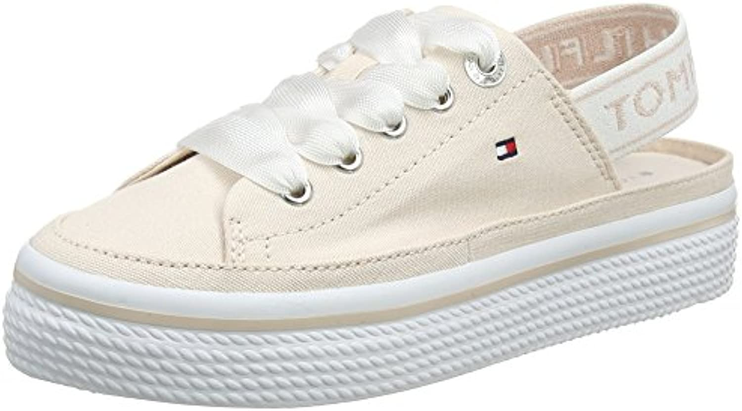 new concept 36c5f 08b97 Tommy Hilfiger Women s Pastel Sling Back Flatform Low-Top Sneakers, Silver  Silver Silver Peony