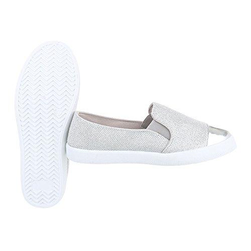 Slipper Damenschuhe Low-Top Sportliche Ital-Design Halbschuhe Silber