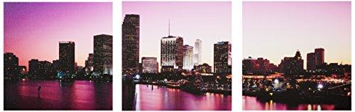 icanvasart Buildings Lit Up At Dusk Biscayne Bay, Miami, Florida von Panorama Bilder 3-teilig Leinwand Kunstdruck, 3612Zoll (Bay Miami Biscayne)