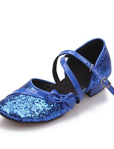 ShangYi Women's/Kids' Dance Shoes Latin Leatherette/Paillette Flat Heel Black/Blue/Red/Silver/Gold Gold