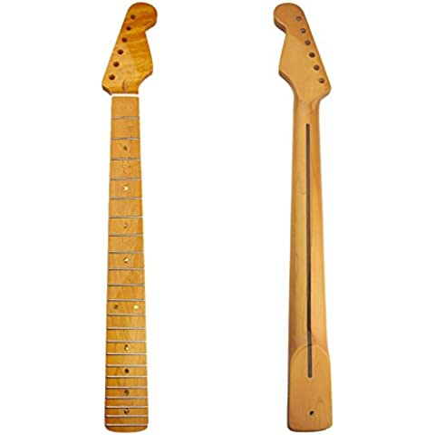 Kmise Gloss de arce 22trastes para guitarra eléctrica Cuello Para Fender Stratocaster Strat ST Sustitución de piezas, Gloss