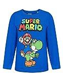 T-Shirt Manches Longues Enfant garçon Mario et Yoshi Bleu de 6 à 12ans - Bleu, 8 Ans