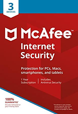 McAfee 2018 Internet Security | 3 Devices | 1 Year | PC/Mac/Android | Download