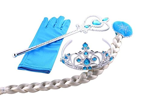 Eisprinzessin Set aus, 1x Paar Handschuhe + 1x Zauberstab + 1x Diadem + 1x Zopf + 1x Paar Ohrringe, 2-9 Jahre