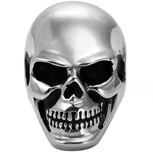 JewelryWe Bijoux Bague Homme Tête de Mort Crâne Gothique Rock Acier Inoxydable Fantaisie Anneau Couleur Argent Taille 64.5