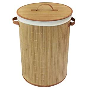 JVL Round Bamboo Collapsible Laundry Basket - 35 x 50 cm, Natural