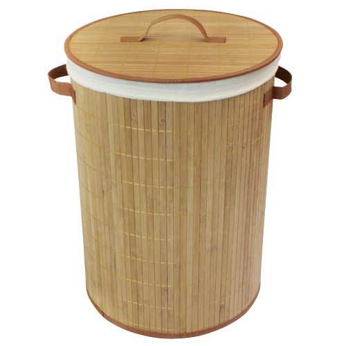 JVL - Cesto redondo de bambú para ropa sucia (35 x 50 cm, plegable, con forro interno extraíble), color natural