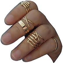 Sannysis® Primavera 6Pcs / Set Vintage Design Pila Sopra Knuckle chiodo dell'anello - 1 Anello Placcato Oro Bello