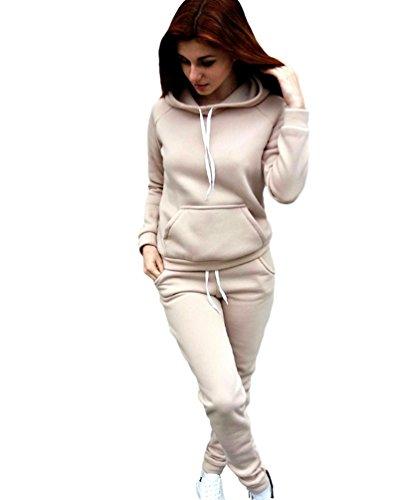 Baymate Damen Jogginganzug Langarm Anzug Pullover Sportanzug Trainingsanzug Sweatshirt mit Hose 2pcs