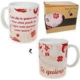 Pinkmarket S5084012 - Taza cerámica de desayuno y café. MUG Cup de desayuno para leche, agua, zumo de frutas. Modelo Te quiero