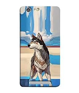 PrintVisa Designer Back Case Cover for Gionee Marathon M5 (Graphic Mammal Dog Breed Head)