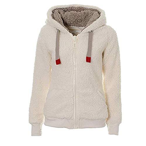 ESAILQ Damen Soft Teddy Kapuzenpulli Kapuzenjacke Mantel Mit Tasche(S,Weiß) -