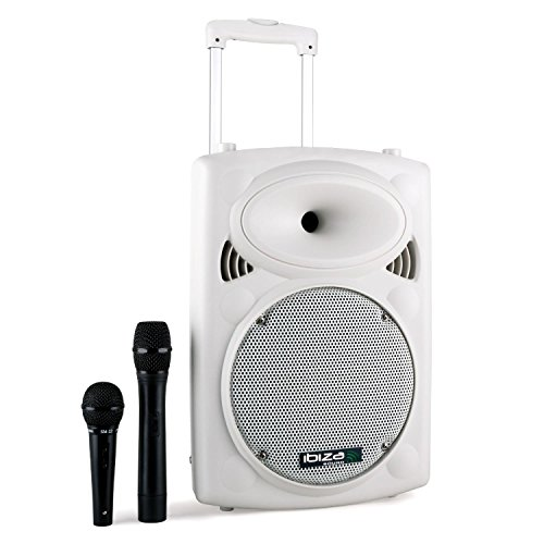 Ibiza Port10VHF-N mobile PA-Box Akku Trolley USB-SD-MP3 500W weiß (Vox-bluetooth-lautsprecher)