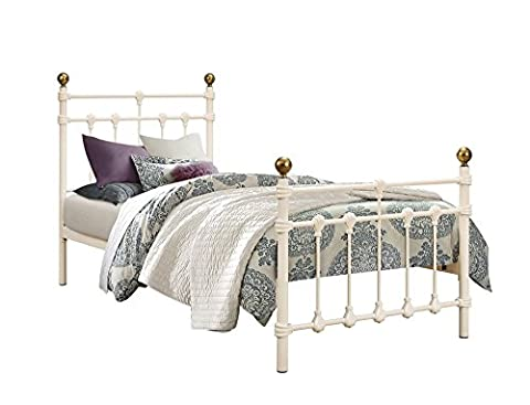 Happy Beds Atlas 3' Single Size Traditional Styled Ivory Finished Metal Bed With Orthopaedic