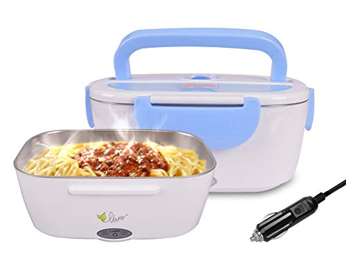 Fiambrera eléctrica comida térmico Lunch Box Fiambreras bento Uso en coche eléctrica con Bandeja extraíble acero inoxidable Recipiente de comida térmico 12V 40W