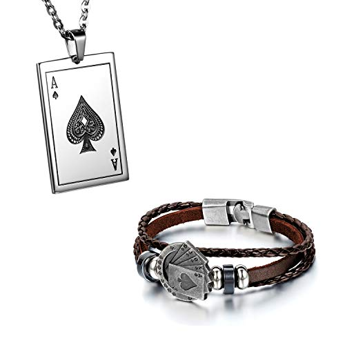 Flongo Herrenarmband Lederarmband Herren-Kette Männer Anhänger Männer Armband, Herren Armreif Leder Armband Anhänger Halskette mit Spielkarte Royal Flush Poker Karten Set Braun (Leder-halskette Für Anhänger)