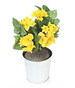 Closer2Nature Artificial 24cm Yellow Begonia Plug Plant - Pot Not Included