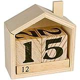 Calendario perpetuo casa di legno - 7,3 x 8 x 3,4 cm