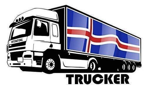 Fahrer Tinte (Groß International Lkw Fahrer Trucker Motiv mit Island Isländische Flagge Vinyl Auto Aufkleber 300x180mm)