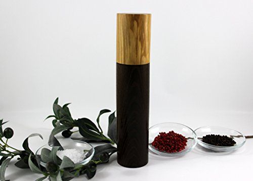 Gewürzmühle klein aus Olivenholz und Räuchereiche