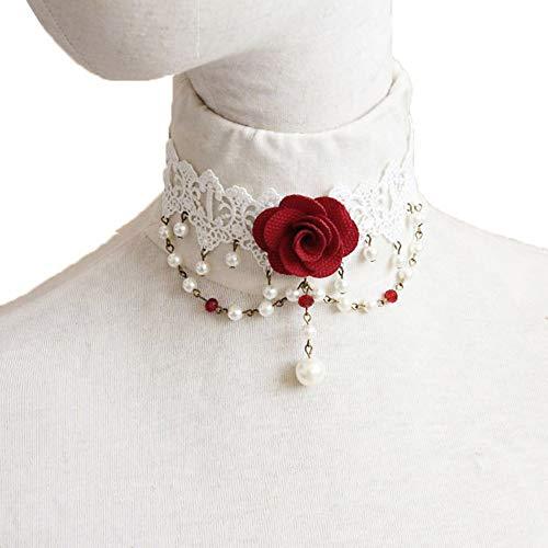 XZZZBXL Damenhalskette Handgefertigte Rote Blume Rose Kristall Perle Tropfen Spitze Choker Halsband Kurze Erklärung Halskette Ball Party Cosplay Braut Hochzeit Gotische