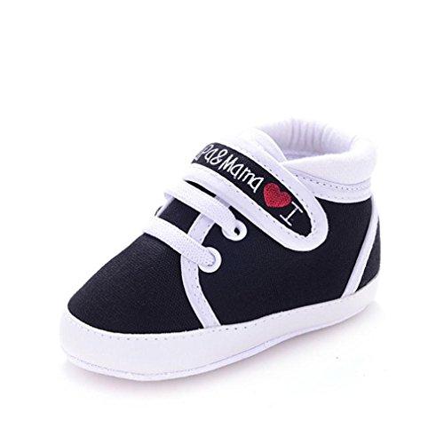 Yogogo Bébé Toile Sneaker - Chaussures Kid Garçon Fille douce Sole Toddler - Bébé Prewalker (11, Noir) Noir