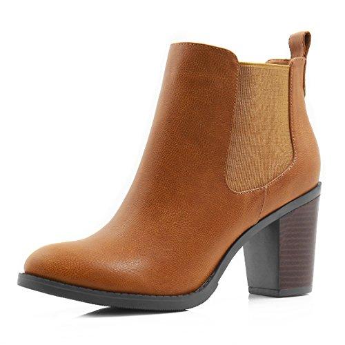 Allegra K Damen Runde Schuhe gestapelte hohe Hacke Chelsea Stiefel, Braun, EU 39 (Heel Stacked Stiefel)