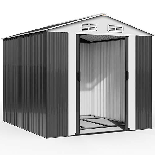 Deuba XXXL Metall Gerätehaus 8m² mit Fundament 312x257x177,5cm Schiebetür Anthrazit Geräteschuppen Gartenhaus 14,7m³