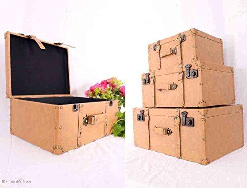 Koffer / Dekokoffer / Holzkoffer / Kunstleder / Retro Lederkoffer Oldtimekoffer Kolonial Stil Koffer / 3er Set Leather Suitcases
