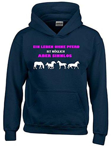 Ein Leben ohne Pferd ist möglich - aber sinnlos ! ! Mädchen Reiten Sweatshirt mit Kapuze HOODIE NAVY, Gr.152cm