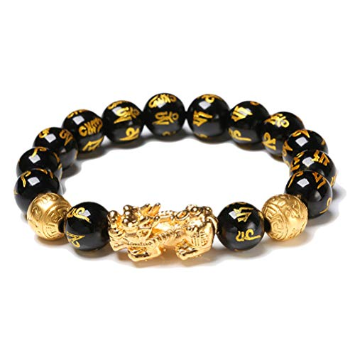 Macabolo Black Obsidian Wealth Beads Bracelet Lucky Wealthy Amulet Bracelet with Golden Pi Xiu