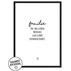 Familie - Kunstdruck auf wunderbarem Hahnemühle Papier DIN A4 -ohne Rahmen- schwarz-weißes Bild Poster zur Deko im Büro/Wohnung/als Geschenk Mitbringsel zum Geburtstag etc.
