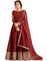 Maroon Georgette Embroidered Semi Stitched Salwar With Dupatta
