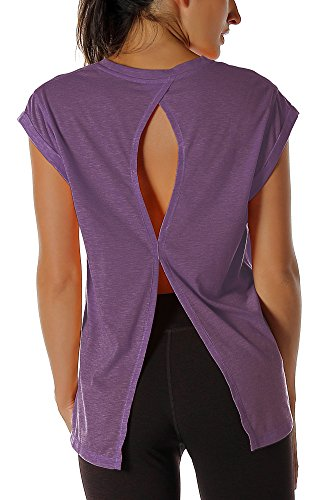 icyzone Damen Fitness-Trainings Kurzarm Shirt Rundhals Top unifarbenes Sport T-Shirt Lang (XL, Grape) -