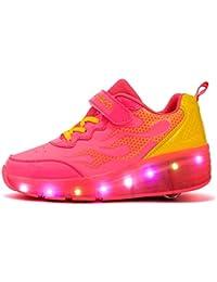 Mr.Ang Zapatillas con ruedas automáticas para niños con luces LED coloridos parpadeante ruedas de patines de rueda patín zapatos