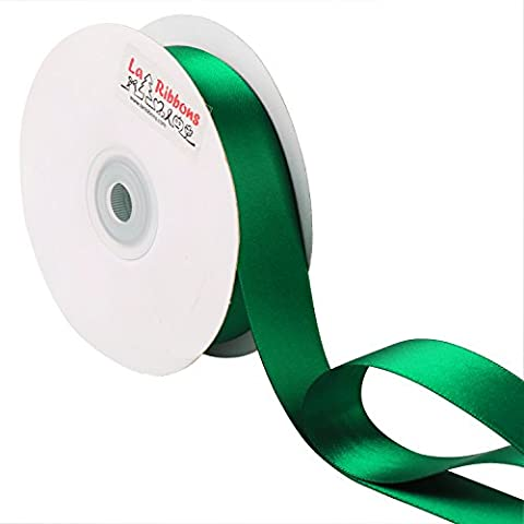 LaRibbons 22 m x 25 mm Double Face Satin Ribbon, Forest Green