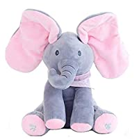 Peek-a-boo Elephant, OMGOD hide-and-seek game Baby Animated Plush Elephant Doll - Gray
