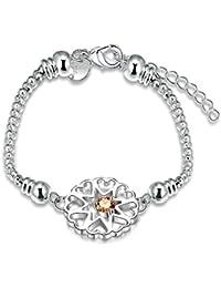 lekima corazón ronda Zircon Pearl Pulsera brazalete encanto elegante mano ajustable cadena Fancy regalo mujeres (con bolsa de regalo)