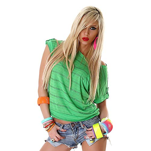f4y Leichtes Damen Kurzarm Streifentop mit Glam-Effekt - Grün-Silber - Brusttasche und Turn-up-Zierlasche - Lurex Western Shirt