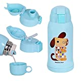 Vakuum Thermosflasche,Doppelwandig Edelstahl Wasserflasche,Isolierflasche für Kinder,Familie 600ml Blau