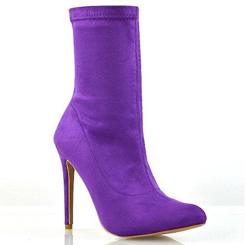 Essex glam donna tacco alto viola finto scamosciato stivali le signore tacco stiletto tirare in su stivaletti eu 39