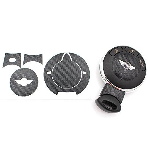 Schlüssel Folie MIA für 3 Tasten Auto Schlüssel Cover Folien Dekor Aufkleber (Carbon Anthrazit)