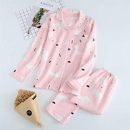 HIUGHJ Pyjamas Rosa Kawaii Bär Pyjamas Sets Frauen Pyjamas Cartoon Vier Jahreszeiten 100% Baumwolle Scuba Long Sleeve (Kostüm Bären Da)