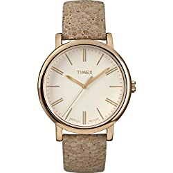 Timex Women's T2P325 Quartz Watch with Beige Dial Analogue Display and Brown Leather Strap