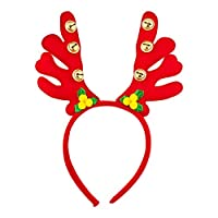Lux Accessories Red Deer Yellow Puff Balls Green Leaves Gold Tone Bells Headband